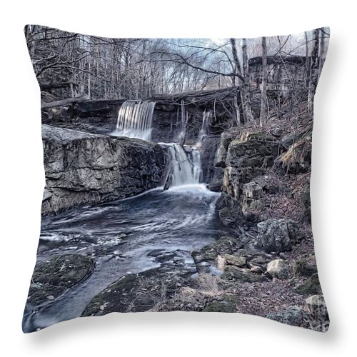 Waterfall Throw Pillow featuring the photograph Waterfall In The Fall by Frank Piercy