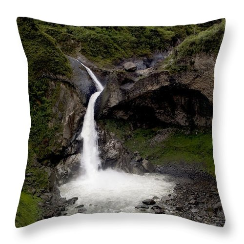 Scripture Throw Pillow featuring the photograph Waterfall Inspiration by Steven Faucette