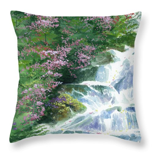 Waterfall Throw Pillow featuring the painting Waterfall by Ken Meyer