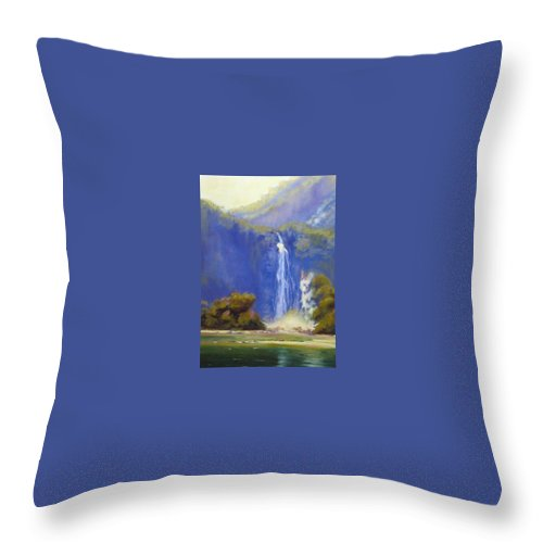 Landscapes Throw Pillow featuring the painting Waterfall New Zealand by Diane Quee