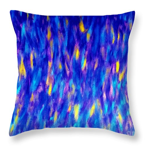Eunice Broderick Throw Pillow featuring the painting Waterfall People by Eunice Broderick