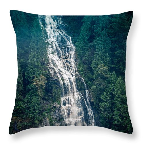 Lacey Waterfall Throw Pillow featuring the photograph Waterfall Princess Louisa Inlet by Mike Penney