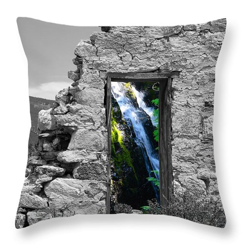 Montages Throw Pillow featuring the photograph Waterfall Through The Magic Door by Greg Wells