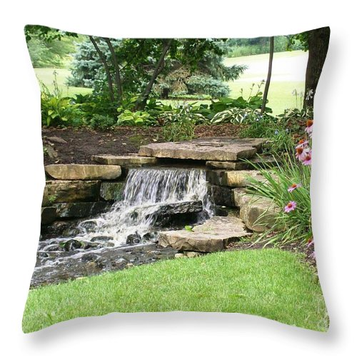Water Throw Pillow featuring the photograph Waterfall With Coneflowers by Laurie Eve Loftin