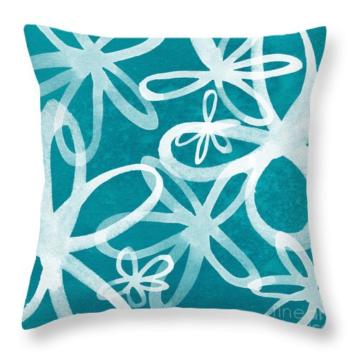 Large Abstract Floral Painting Throw Pillow featuring the painting Waterflowers- Teal And White by Linda Woods