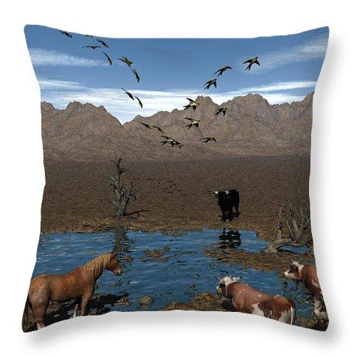 Digital Art Throw Pillow featuring the digital art Watering Hole by Michael Wimer