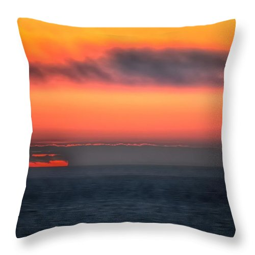 Waterline Throw Pillow featuring the photograph Waterline Sunset 17573 by Jerry Sodorff