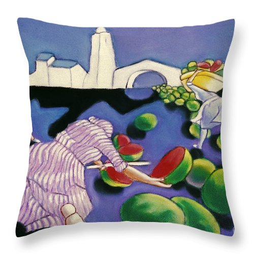Watermelon Throw Pillow featuring the painting Watermelon Woman by William Cain