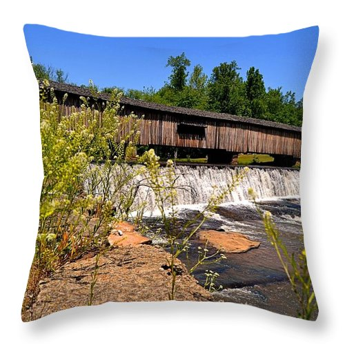 Watson Mill Throw Pillow featuring the photograph Watson Mill Covered Bridge From The Jetty by James Potts