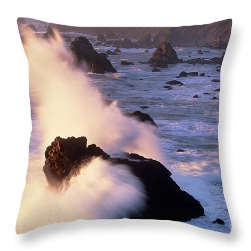 California Throw Pillow featuring the photograph Wave Crashing On Sea Mount California Coast by Dave Welling