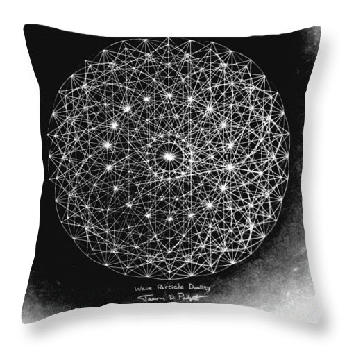 Jason Throw Pillow featuring the drawing Wave Particle Duality Black White by Jason Padgett