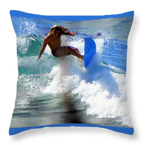 Surfers Throw Pillow featuring the photograph Wave Rider by Karen Wiles