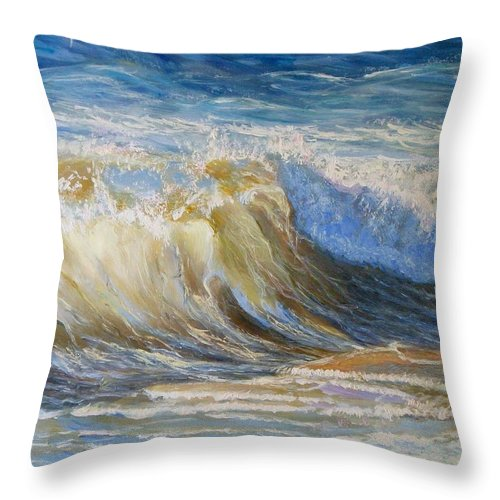 Wave Throw Pillow featuring the painting Wave2 by Elena Sokolova