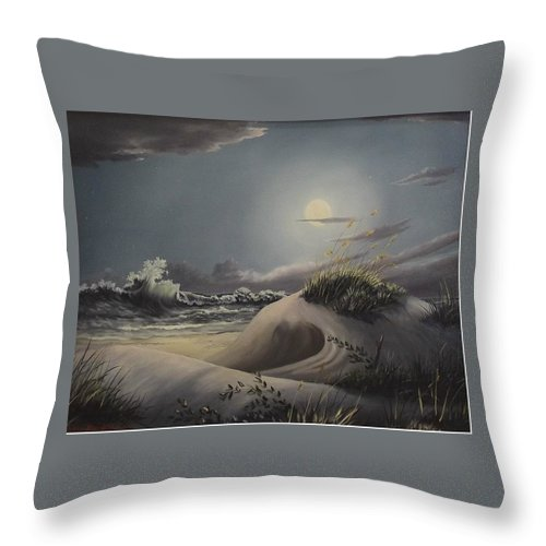 Landscape Throw Pillow featuring the painting Waves And Moonlight by Wanda Dansereau