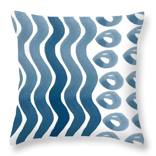 Watercolor Throw Pillow featuring the painting Waves And Pebbles- Abstract Watercolor In Indigo And White by Linda Woods