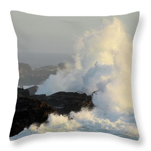 California Throw Pillow featuring the photograph Waves At Salt Point by Bob Christopher