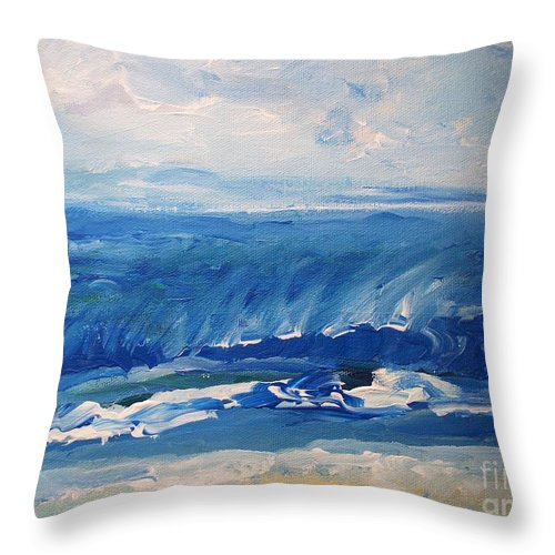 Waves Throw Pillow featuring the painting Waves At West Cape May Nj by Eric Schiabor