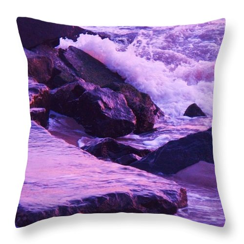 Wave Throw Pillow featuring the photograph Waves Breaking On Jetties by Eric Schiabor