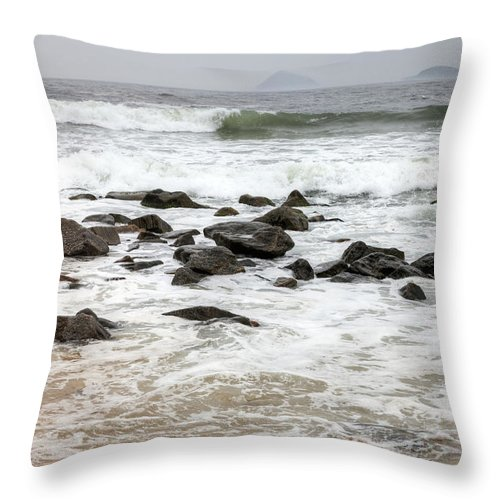 Water's Edge Throw Pillow featuring the photograph Waves Crashing On Copacabana Beach In by Tirc83