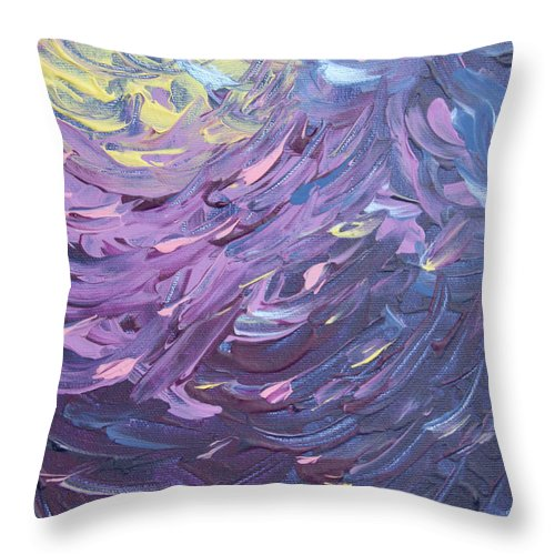 Abstract Throw Pillow featuring the painting Waves by Laura Lane