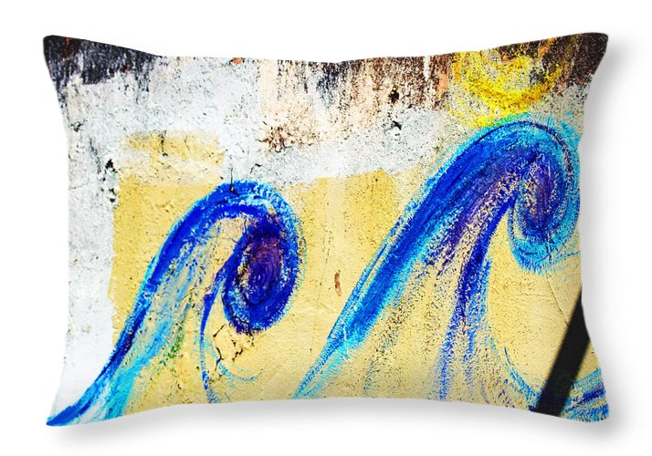 Graffiti Art Throw Pillow featuring the photograph Waves On A Wall by Marie Jamieson