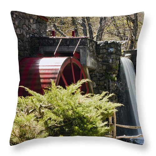 Wayside Grist Mill Throw Pillow featuring the photograph Wayside Grist Mill 3 by Dennis Coates