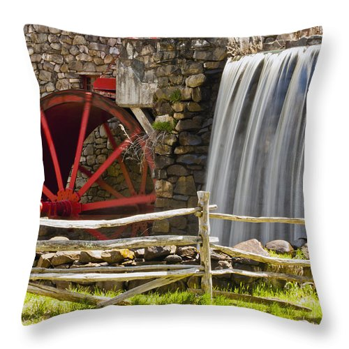 Wayside Grist Mill Throw Pillow featuring the photograph Wayside Grist Mill 4 by Dennis Coates