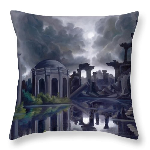 Ruins Throw Pillow featuring the painting We Lost Our Empire A Long Time Ago by James Christopher Hill