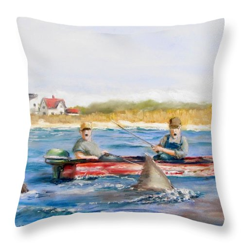 Boat Throw Pillow featuring the painting We Need A Biggah Boat by Jack Skinner