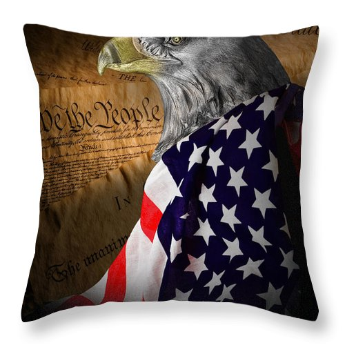 Eagle Throw Pillow featuring the photograph We The People by Tom Mc Nemar