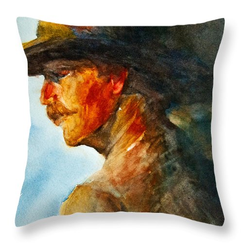 Cowboy Art Throw Pillow featuring the painting Weathered Cowboy by Jani Freimann