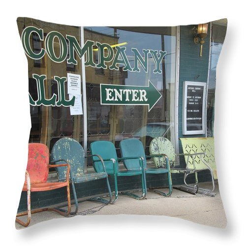 Old Lawn Chairs Throw Pillow featuring the photograph Weathered Old Lawn Chairs by Donna Wilson