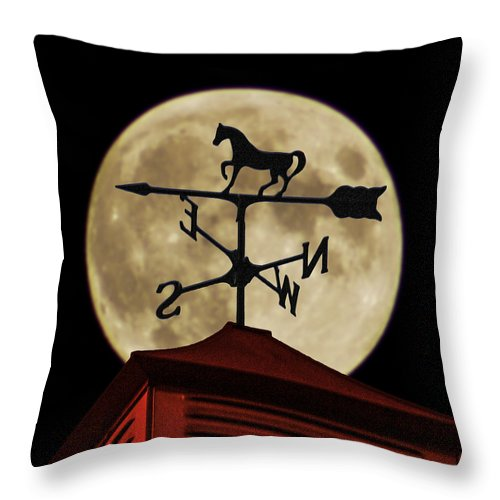 Weathervane Throw Pillow featuring the photograph Weathervane Before The Moon by Wes Jimerson