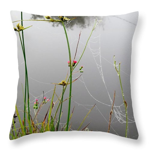 Floral Throw Pillow featuring the photograph Web Of Pearls by Zina Stromberg