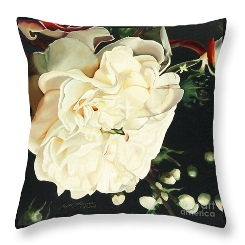 Wedding Belle Throw Pillow featuring the painting Wedding Belle by Edythe Alexander