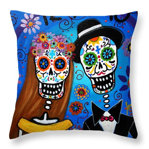 Wedding Throw Pillow featuring the painting Wedding Couple by Pristine Cartera Turkus