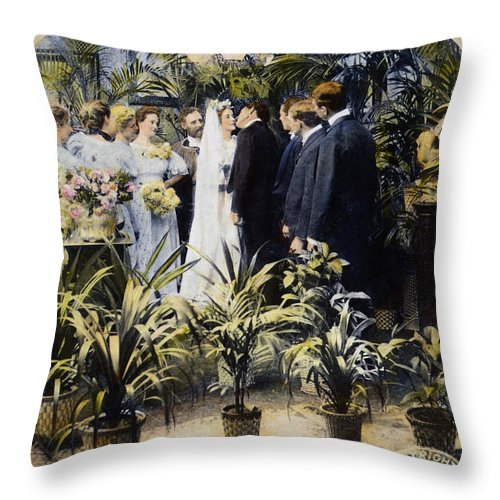 1897 Throw Pillow featuring the photograph Wedding Party, 1897 by Granger
