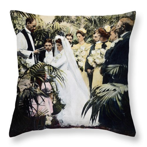 1900 Throw Pillow featuring the photograph Wedding Party, 1900 by Granger