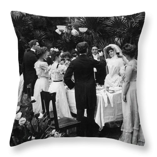 1904 Throw Pillow featuring the photograph Wedding Party, 1904 by Granger