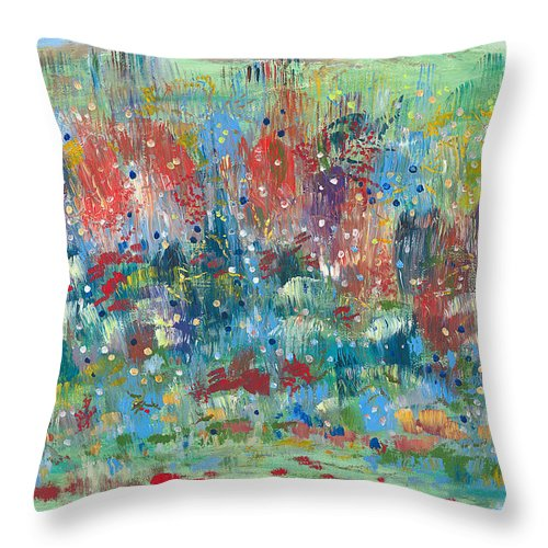 Contemporary Throw Pillow featuring the painting Weeds by Bjorn Sjogren