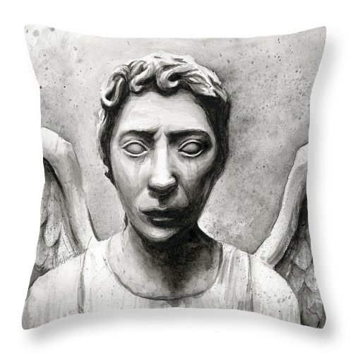 Who Throw Pillow featuring the painting Weeping Angel Don't Blink Doctor Who Fan Art by Olga Shvartsur