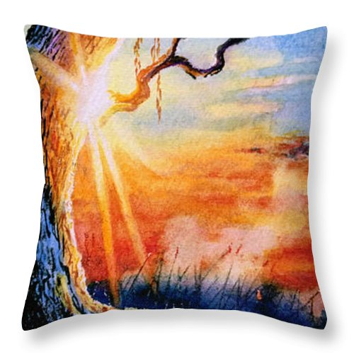 Sunrise Painting Throw Pillow featuring the painting Weeping Willow Sighs by Hanne Lore Koehler