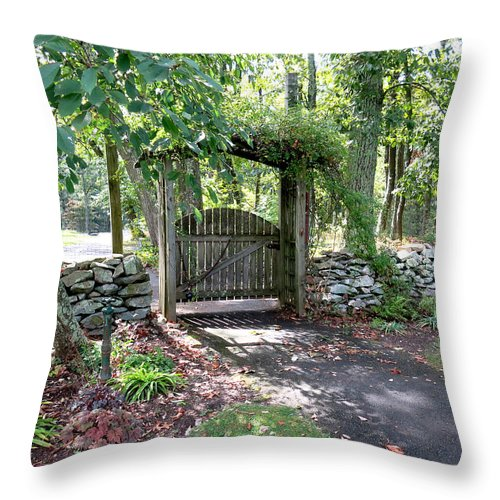 Gate Throw Pillow featuring the photograph Welcome by Jean Macaluso
