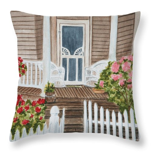 Architecture Throw Pillow featuring the painting Welcome by Regan J Smith