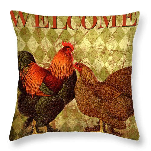 Digital Art Throw Pillow featuring the digital art Welcome Rooster-61412 by Jean Plout