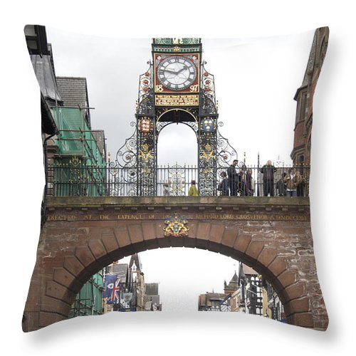 Clock Tower Throw Pillow featuring the photograph Welcome to Chester by Mike McGlothlen
