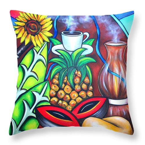 Cuban Paintings Throw Pillow featuring the painting Welcome To Here And Now by Annie Maxwell
