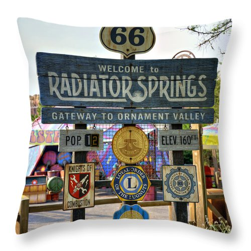 Sign Throw Pillow featuring the photograph Welcome To Radiator Springs by Ricky Barnard