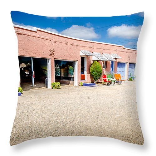 Bob And Nancy Kendrick Throw Pillow featuring the photograph Welcoming Courtyard by Bob and Nancy Kendrick