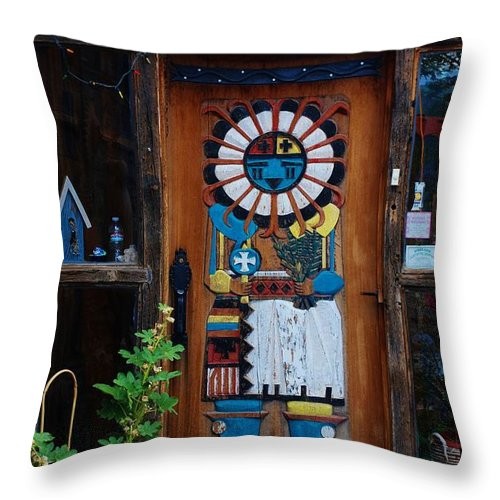 Entrada Throw Pillow featuring the photograph Welcoming Entrada In Taos by Dany Lison